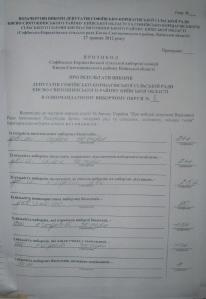 Протокол Софіївсько-Борщагівської сільської  виборчої комісії округ №8