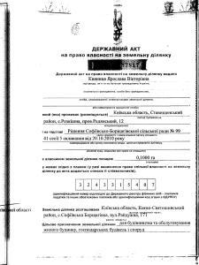 село Софіївська Борщагівка вулиця Райдужна 171 Кияниця  держакт1