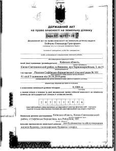 село Софіївська Борщагівка вулиця Райдужна 165 Бойчунь О.Г. держакт 1