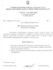 Софіївська Борщагівка рішення по Кудрик  О.Т. 15.03.2011 року