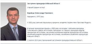 Заступник прокурора Київської області Корнієць О.П.