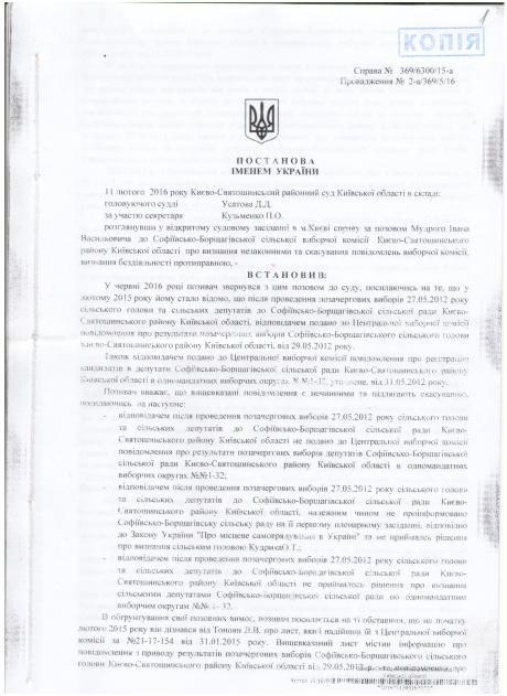 Києво-Святошинський районний суд Усатов 11.02.2016 р Ухвала повна 1